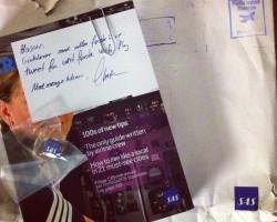 - Takker, SAS! Slik belønnes den første tweeten sendt fra et SAS-fly :) #Twitter #SAS
