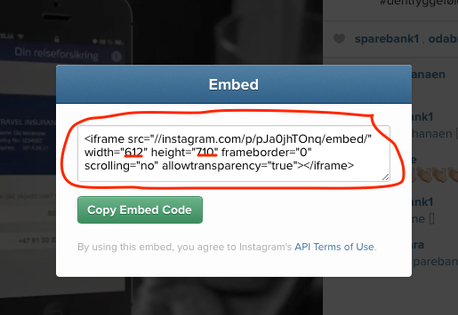 embedding instagram pics on yoiur blog