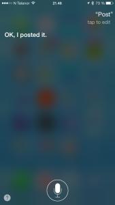 Siri oppdaterer Facebook