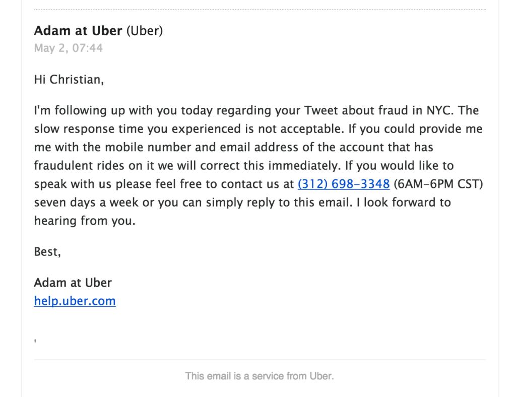 Mail fra Uber etter Twitter-meldingen